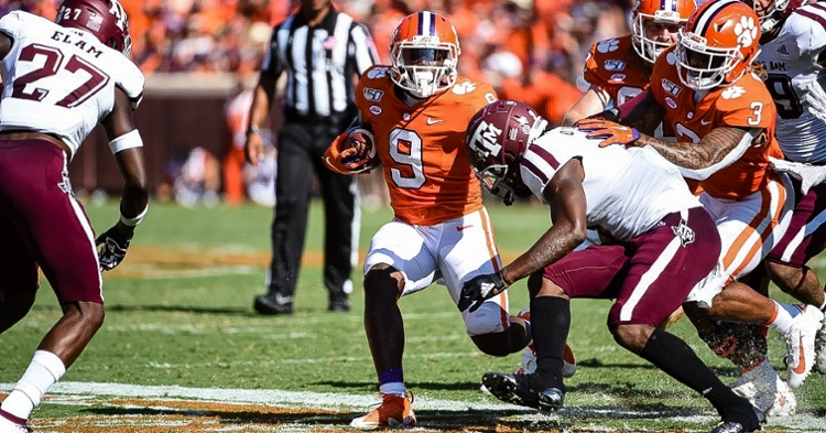 Travis Etienne looks for running room against Texas A&M