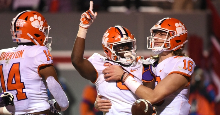 Travis Etienne celebrates touchdown (Photo by Rob Kinnan, USAT)   (Photo: usat / USATODAY)