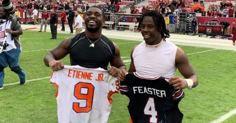 It was all love after the game between Etienne and Feaster