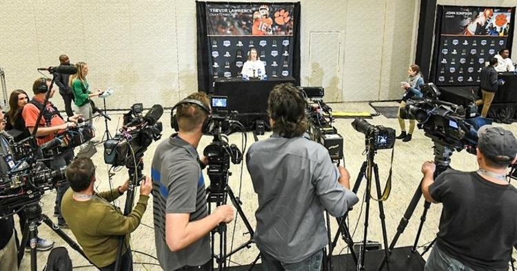 Trevor Lawrence speaks to the media Tuesday. (Photo courtesy Fiesta Bowl)