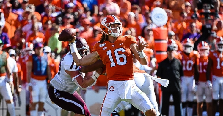 Trevor Lawrence in action against Texas A&M Saturday.