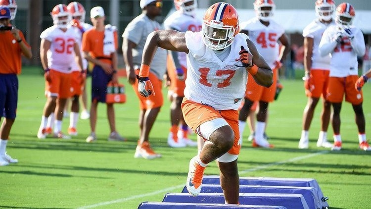 Mascoll does through drills during fall camp