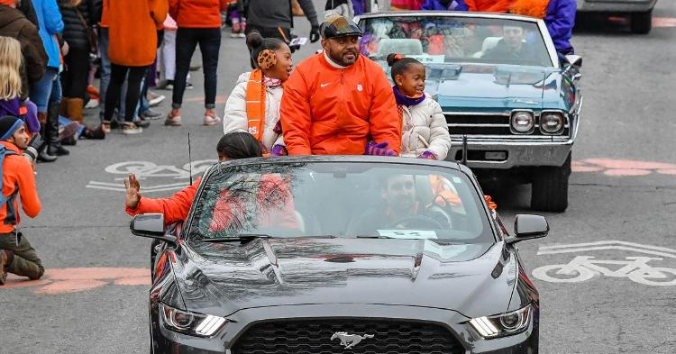 Mike Reed and his family in the National Championship celebration parade