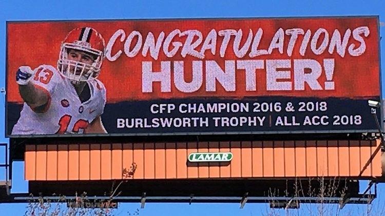 Billboard in Socastee, SC honors Hunter Renfrow