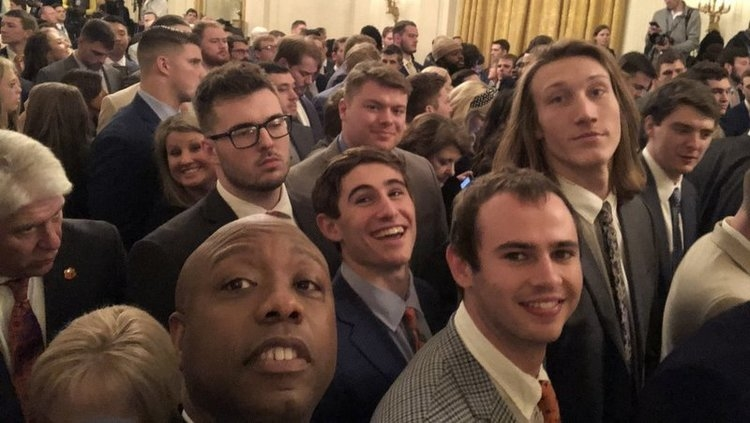 Hunter Renfrow and his teammates smile for the camera at the White House