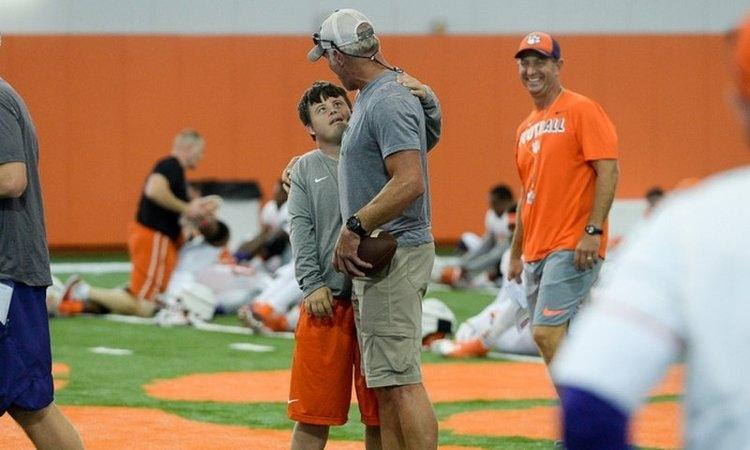 Saville has been a fixture of the Clemson football program. In August, he met NFL hall of famer Brett Favre at practice.