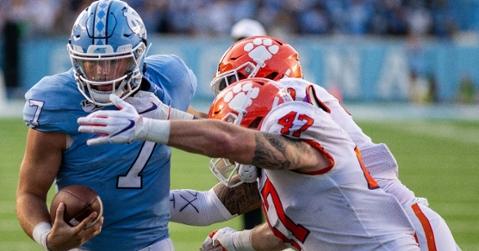 Skalski (47) makes the tackle at UNC