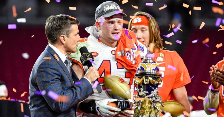 Chad Smith on stage after the win over the Buckeyes in the Fiesta Bowl.