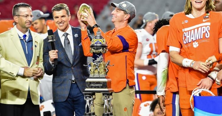 Swinney holds the Fiesta Bowl trophy