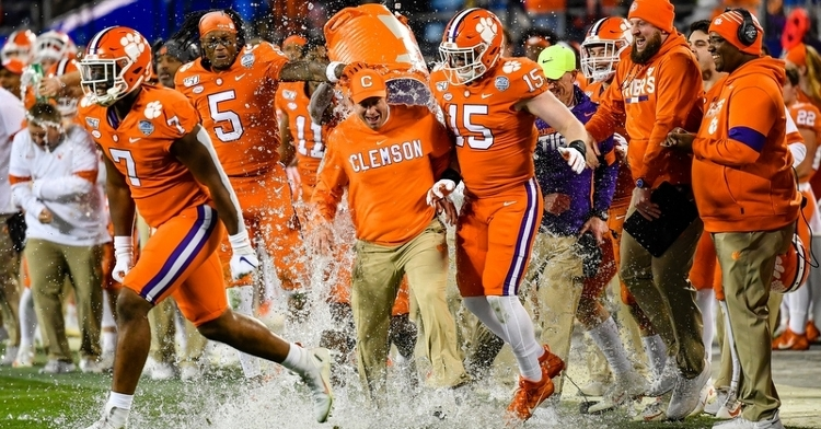 Swinney gets a Gatorade bath at the end of the game Saturday.