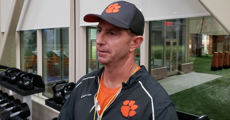 Swinney talks to the media after Wednesday's practice
