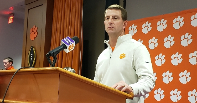 Swinney talks to the media Tuesday at his weekly press conference.