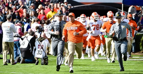 Dabo Swinney leads his team out on the field at South Carolina Saturday