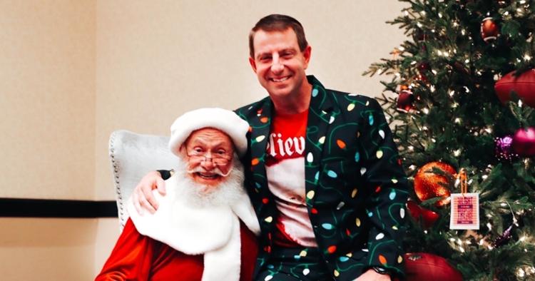 Swinney poses with Santa at the Fiesta Bowl this week.