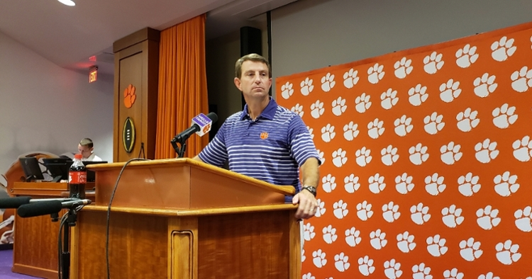 Swinney talks to the media Tuesday