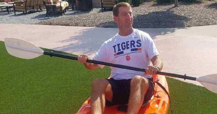 Dabo Swinney tries out his new kayak