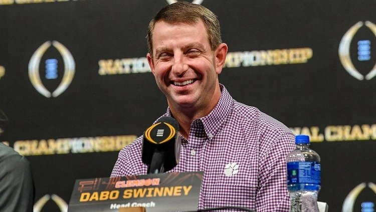Clemson head coach Dabo Swinney is all smiles after beating Bama