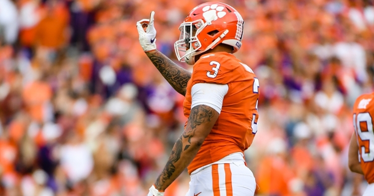 Clemson defensive end Xavier Thomas after making a play Saturday