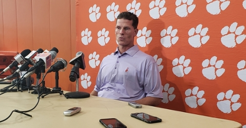 Brent Venables talks to the media Monday in the indoor practice facility