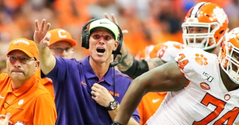 Venables makes a signal during the win over Syracuse