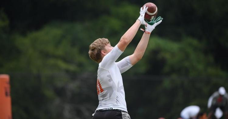 Berrong catches a pass during camp