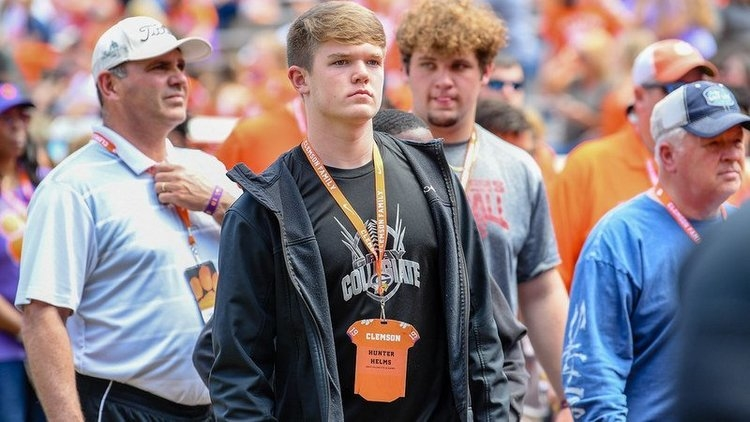 Helms walks the sidelines before Clemson's spring game