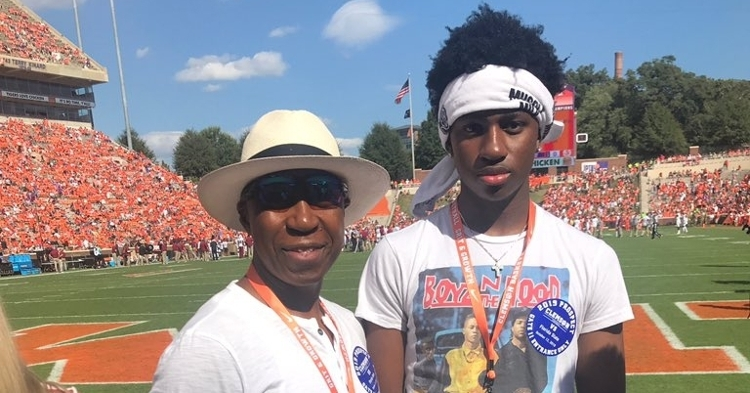 Powell (right) visited Clemson last weekend and took in the win over Florida State.