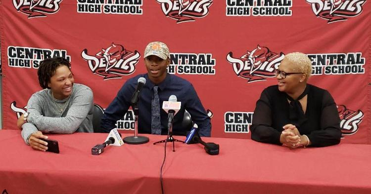 Williams is joined by his mother (right) and his sister Saturday