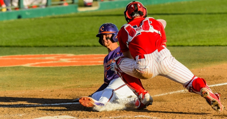 Clemson just missed out on scoring a run here (Photo by David Grooms).