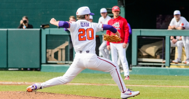 Mat Clark delivers  a pitch Sunday against Stony Brook (Photo by David Grooms)