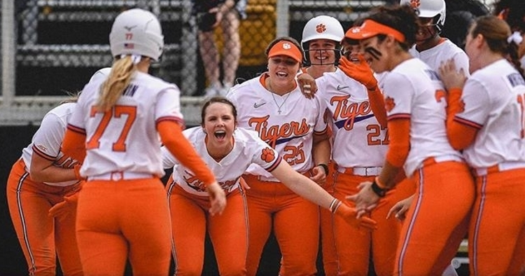 Goodwin is greeted at home plate after her homer (Courtesy of Clemson Softball)