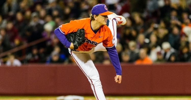 Clemson carried a no-hit bid into the ninth thanks to Sam Weatherly's big night. (Photo by David Grooms)