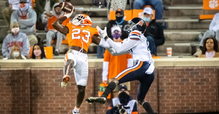 Andrew Booth made this spectacular one-handed INT against UVa. (ACC photo)