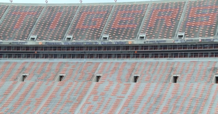 Clemson has seatback pairings in mostly twos and fours around the stadium.