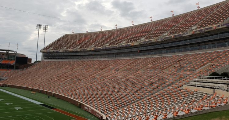 Clemson says the seatback placement was approved by the state, ACC and Clemson.