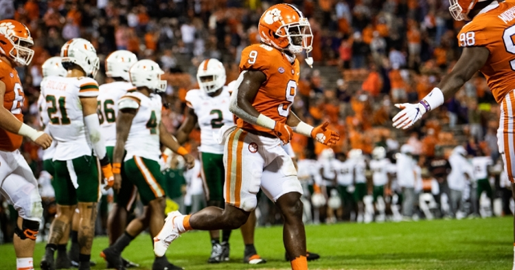 Etienne reacts after scoring early against Miami (Photo courtesy ACC).