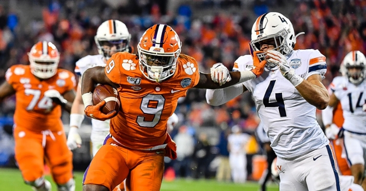 Travis Etienne averaged 8.1 yards per carry with over 100 rushing yards against Virginia last year.