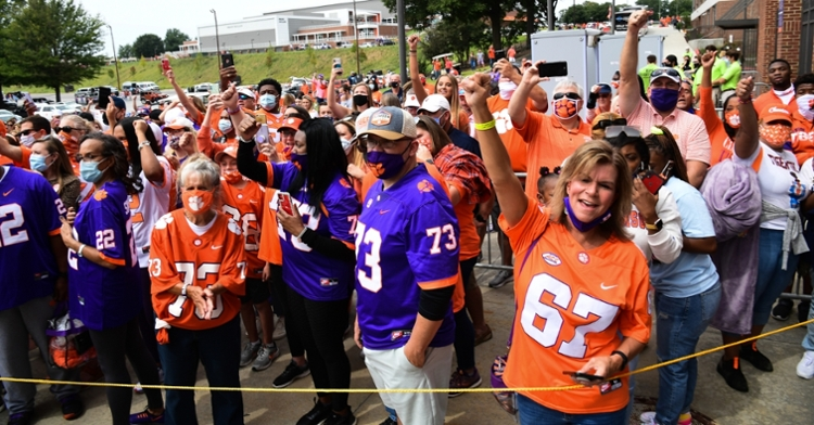 Clemson fans line up before Saturday's game (Photo per ACC).