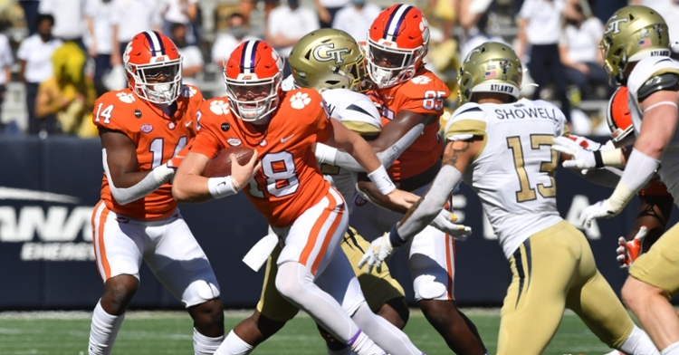 Helms looks for running room at Georgia Tech Saturday. (Photo courtesy ACC)