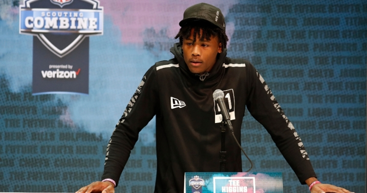 Higgins speaks with the media at the Combine  (Photo: Brian Spurlock / USATODAY)