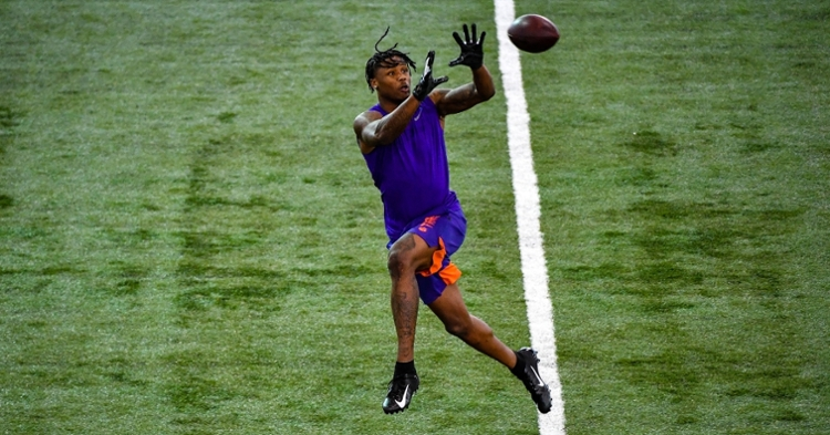 Tee Higgins caught every pass in the receiver workout.
