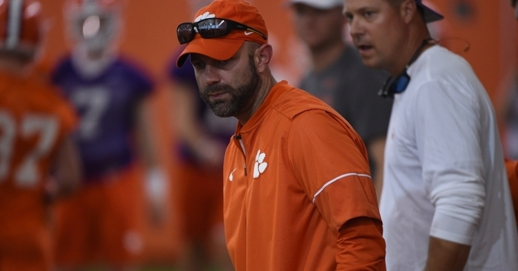 Kyle Richardson looking on at a recent Clemson practice