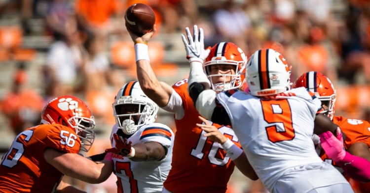 Trevor Lawrence looks for a throwing lane. (Photo courtesy of ACC)