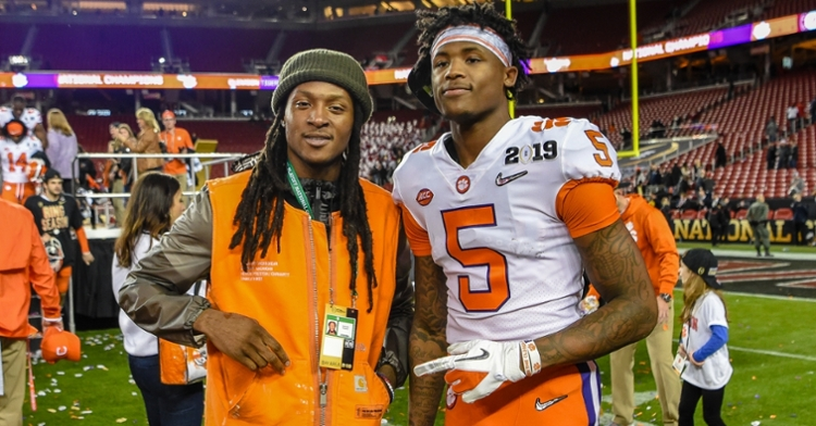 DeAndre Hopkins, left, and Tee Higgins, right, are tied with Sammy Watkins for Clemson's most career TD receptions.