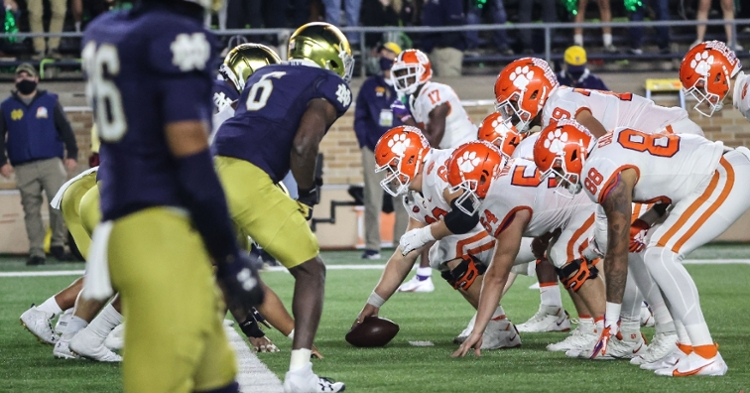 Clemson's offensive line struggled at Notre Dame. (Photo courtesy ACC)
