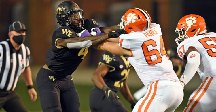 Parks played extensive snaps against Wake Forest. (Photo courtesy ACC)