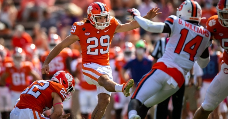 BT Potter hits a field goal against Syracuse. (Photo courtesy ACC)