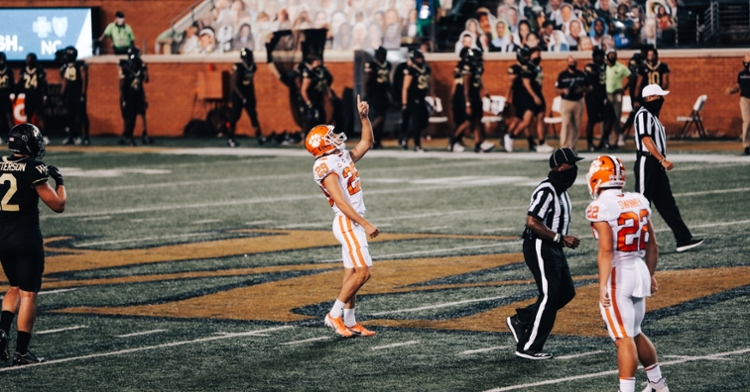 BT Potter points to the heavens after a field goal (Photo per the ACC).