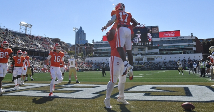 Clemson celebrates an early touchdown at GT. (Photo courtesy of ACC)
