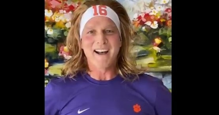 Mark Richt looks happy wearing his Trevor Lawrence starter kit